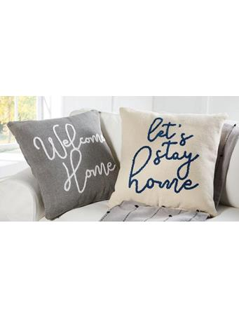 MUD PIE - Let's Stay Home & Welcome Home Decorative Pillows - Assorted Styles WHITE