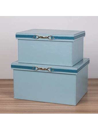 MAISON LUXE - Faux Leather Storage Boxes with Buckle BLUE