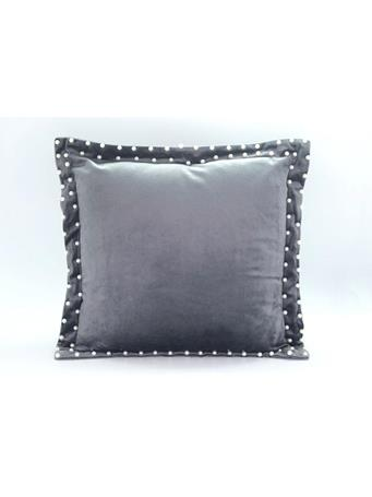 MAISON LUXE - Velvet Decorative Pillow with Pearl Beaded Flange - 18