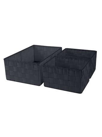 CREATIVE CLOSET - 3 Piece Woven Strap Storage Set BLACK