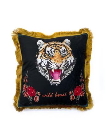 MAISON LUXE - Wild Beast Tiger Decorative Pillow with Fringe BLACK
