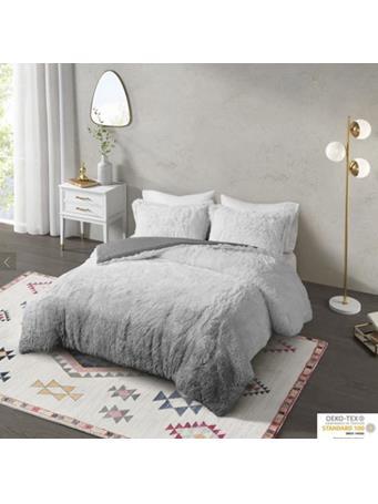 COSMOLIVING - Cleo Ombre Shaggy Fur Comforter GREY