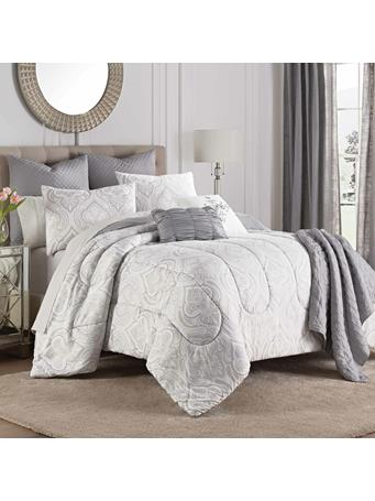 MARTEX - Aria 8 Piece Comforter Set with Throw GREY