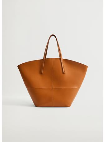 MANGO - Seam Shopper Bag MEDIUM BROWN