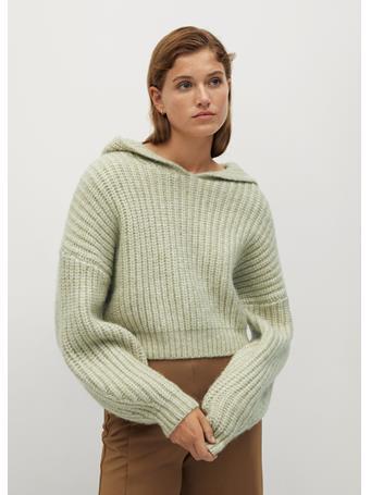 MANGO - Capuchino Hooded Sweater GREEN
