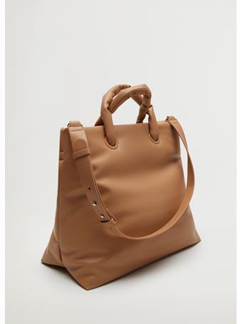 MANGO - Quilted Square Bag MEDIUM BROWN