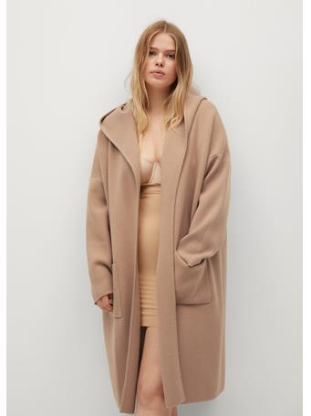 Violeta by MANGO - Hooded Coat MEDIUM-BROWN