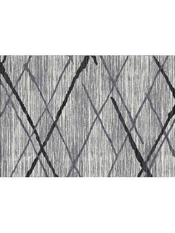 KENSINGTON - Big X Grey & Black Plush Rug GREY/BLACK