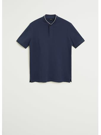 MANGO - Mao Collar Cotton Polo BLUE
