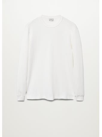 MANGO - Structured Cotton T-Shirt WHITE