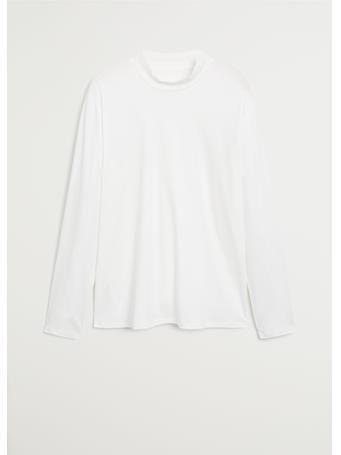 MANGO - Perkins Neck Cotton T-Shirt WHITE