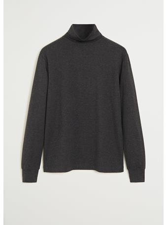 MANGO - Turtleneck Cotton T-shirt GREY