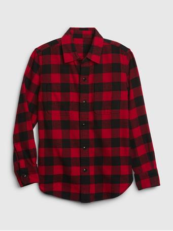 GAP - Long Sleeve Flannel Shirt RED-PLAID