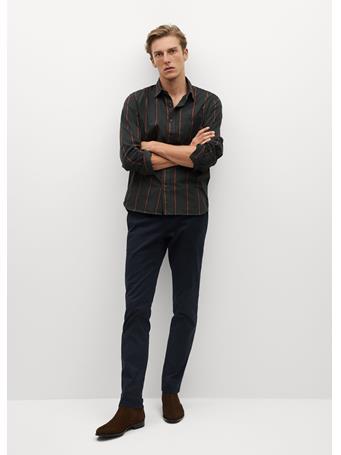 MANGO - Regular Fit Striped Cotton Shirt BLACK