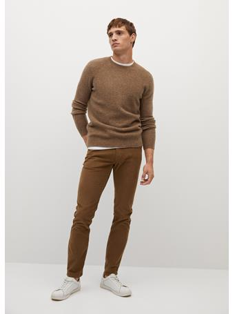 MANGO - Slim Fit Denim-effect Corduroy Trousers TOBACCO