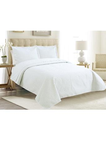 EDEN & WEST -  Serene Diamond Coverlet Set WHITE