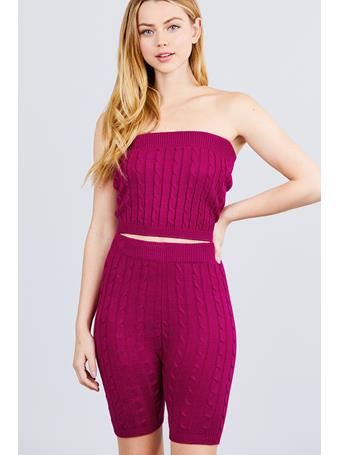 ACTIVE BASIC - Sweater Knit Tube Top DK-PURPLE