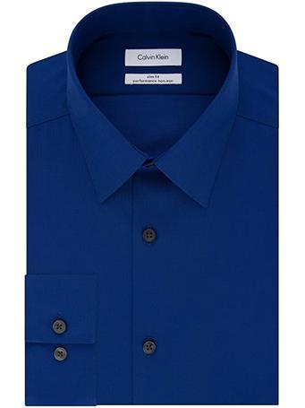 CALVIN KLEIN - Men's Dress Shirt Slim Fit Non-Iron Herringbone ULTRA-BLUE