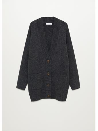 MANGO - Button Knit Cardigan DARK-GREY