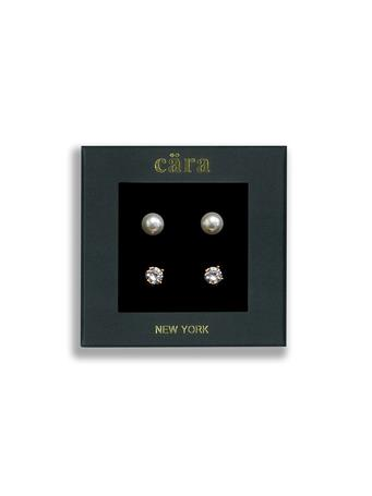 CARA - 8mm Fresh Water Round Pearl & 6mm CZ Studs 2-Pair Set PRLCZGLD