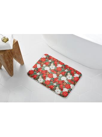 HOLIDAY -  Poinsettia Lush Memory Foam Bath Mat RED