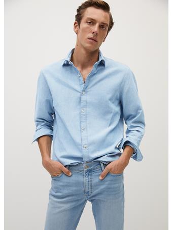 MANGO - Cotton Linen-Blend Regular-Fit Shirt BLEACH-BLUE