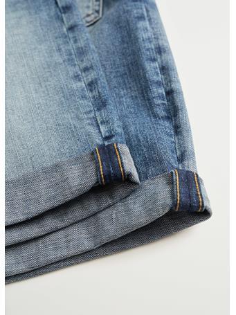 MANGO - Faded Dark Wash Denim Bermuda Shorts BLUE