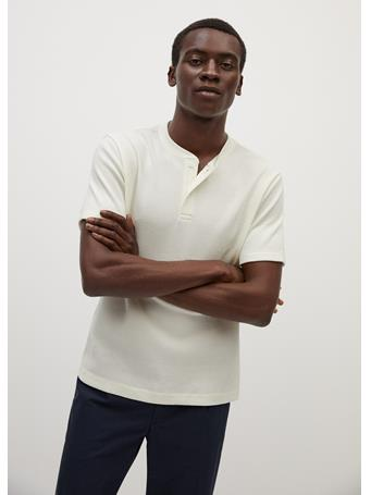MANGO - Henley Cotton T-Shirt OFF-WHITE