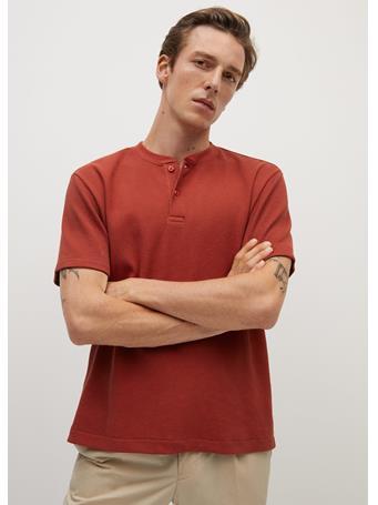 MANGO - Henley Cotton T-Shirt ORANGE