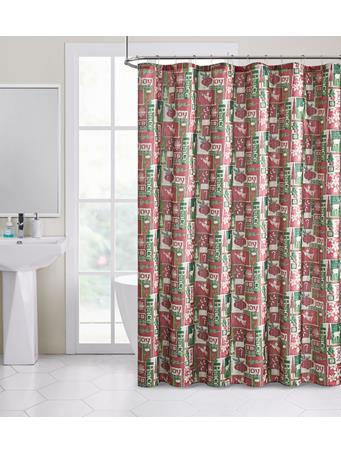 HOLIDAY -  Holiday Patch Shimmer Shower Curtain RED