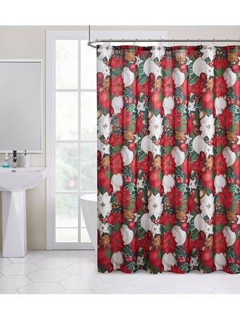 HOLIDAY -  Poinsettia Lush Lurex Shower Curtain RED