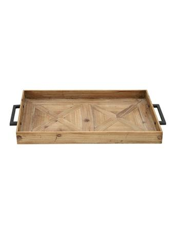 UMA - Wood Tray with Metal Handles BROWN