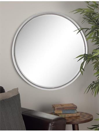 """UMA - Round Metal Wall Mirror 30"""" WHITE"""