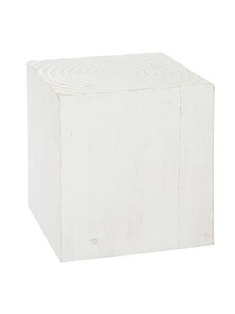 UMA - White Wood Square Stool WHITE