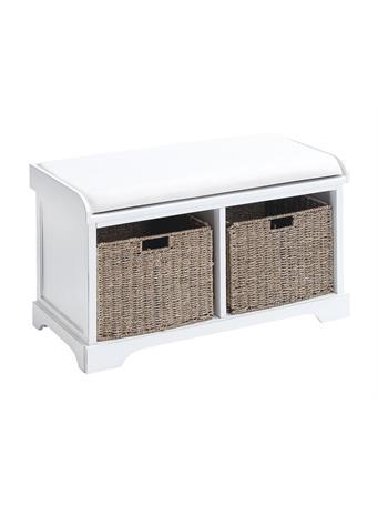 UMA - Wood Bench with Storage Baskets WHITE