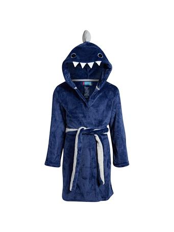 ONLY BOYS - Plush Solid Fleece Robe with Character Hood BLUE-PRINT