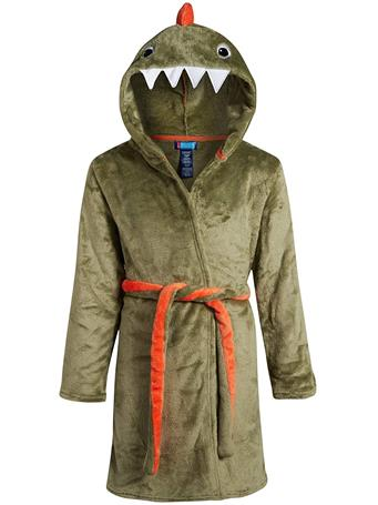 ONLY BOYS - Plush Solid Fleece Robe with Character Hood GREEN