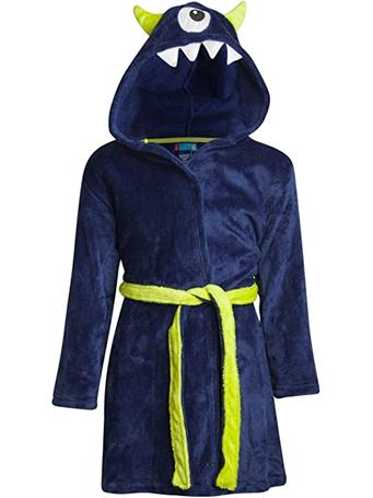 ONLY BOYS - Plush Solid Fleece Robe with Character Hood NAVY