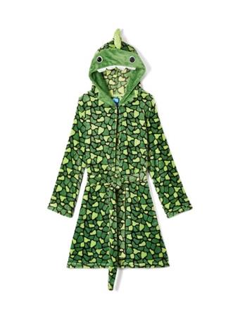 ONLY BOYS - Plush Solid Fleece Robe with Character Hood GREEN-PRINT