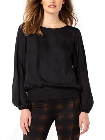 LIVERPOOL JEANS - Puff Sleeve Top With Smocked Waistband BLACK