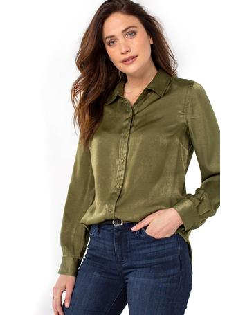 LIVERPOOL JEANS - Button Up Woven Blouse OLIVE