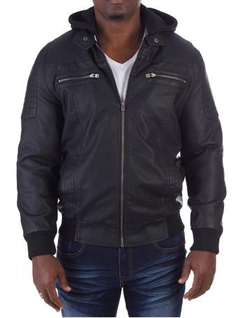 XRAY - Vegan Leather Ribbed Jacket with Detachable Hood BLACK