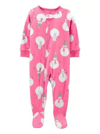 CARTER'S - 1-Piece Snowman Fleece Footie PJs PINK