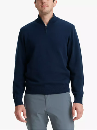 DOCKERS -Men's Quarter Zip Sweater PEMBROKE-NAVY