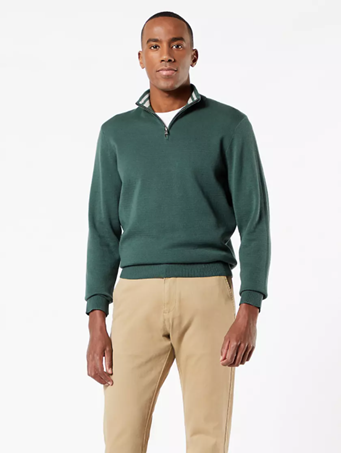 DOCKERS - Men's Quarter Zip Sweater GARDEN-TOPIARY
