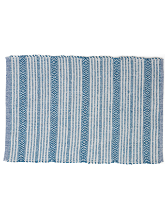HOME ESSENTIALS - Cotton Scatter Rug  - Turquoise  Stripe TURQUOISE-STRIPE