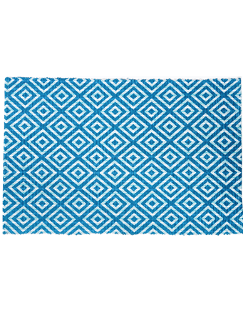 HOME ESSENTIALS - Cotton Scatter Rug Diamond Turquoise TURQUOISE-DIAMOND