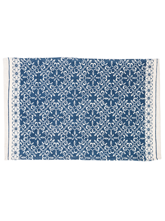 HOME ESSENTIALS - Cotton Scatter Rug-Blue Tile Printe BLUE-TILE