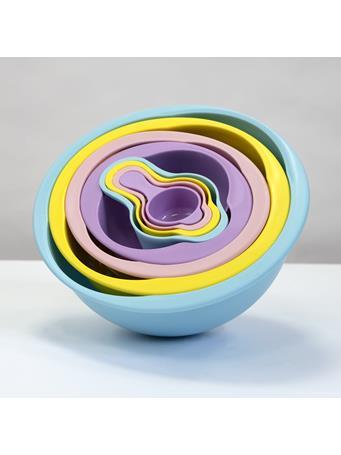 8 Piece Color Compact Food Prep Plastic Nesting Mixing Bowl Set - Multi Colour No-Color
