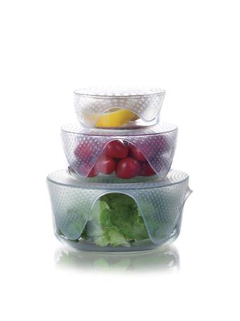 4 Piece Re-usable Silicone Food Wraps - Clear No-Color